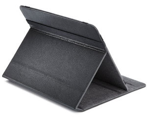 Folio cover features leather exterior and microfibre interior