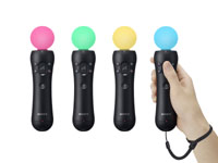 PlayStation Move controller with dynamic orb colors demonstrated