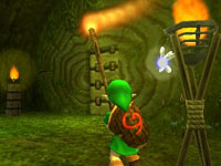 Link dungeon crawling in The Legend of Zelda: Ocarina of Time 3D
