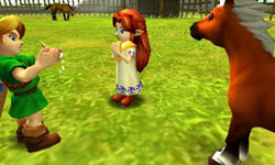 Link using his ocarina to gain access to his horse in The Legend of Zelda: Ocarina of Time 3D