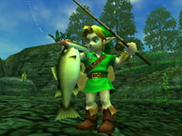 Link fishing in The Legend of Zelda: Ocarina of Time 3D