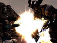 A female mage character fighting an ogre