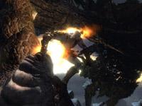 Kratos s'extirpant d'une position serrée dans God of War III