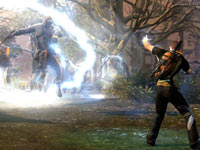 Cole subduing a human enemy with his electrical powers in inFAMOUS 2