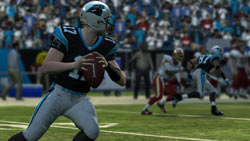 Quarterback throwing from the pocket in 'Madden NFL 10'