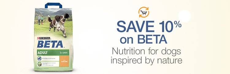 Save 10% on BETA. Healthy inside, happy outside. Nutrition for dogs