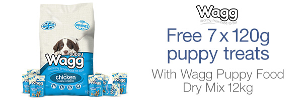 Free 7 x 120g puppy treats with Wagg Puppy Food Dry Mix 12kg
