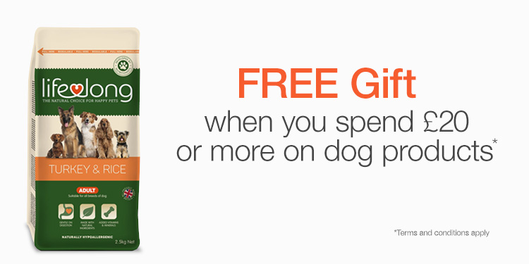 Free Lifelong Dog Food with £20 purchase in dogs.