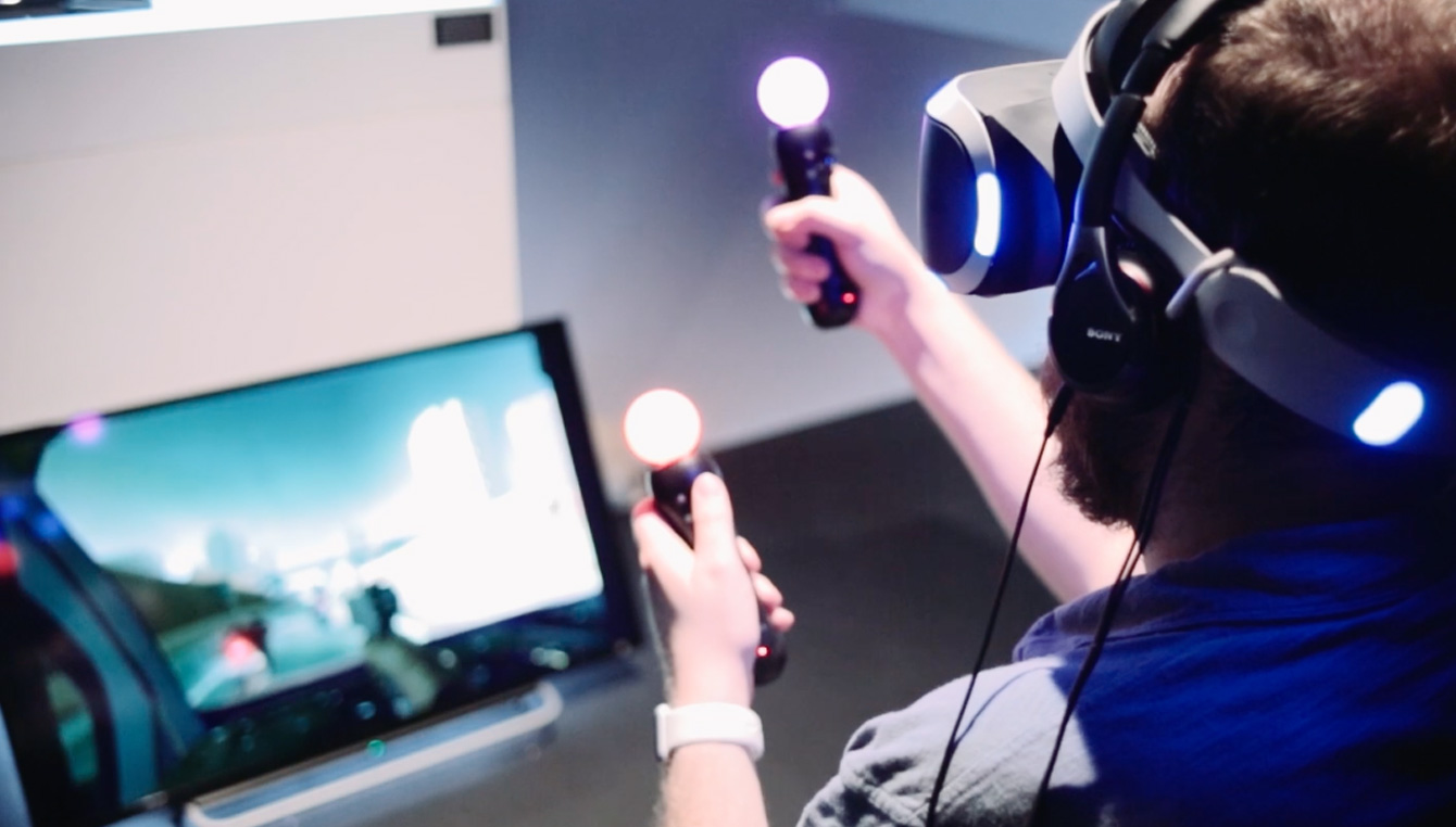 Image of Man Playing with PlayStation VR