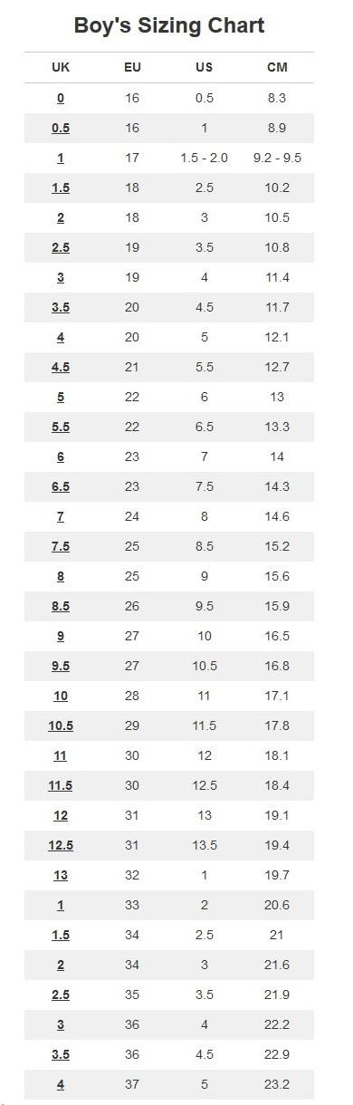 Boys' shoes sizing chart
