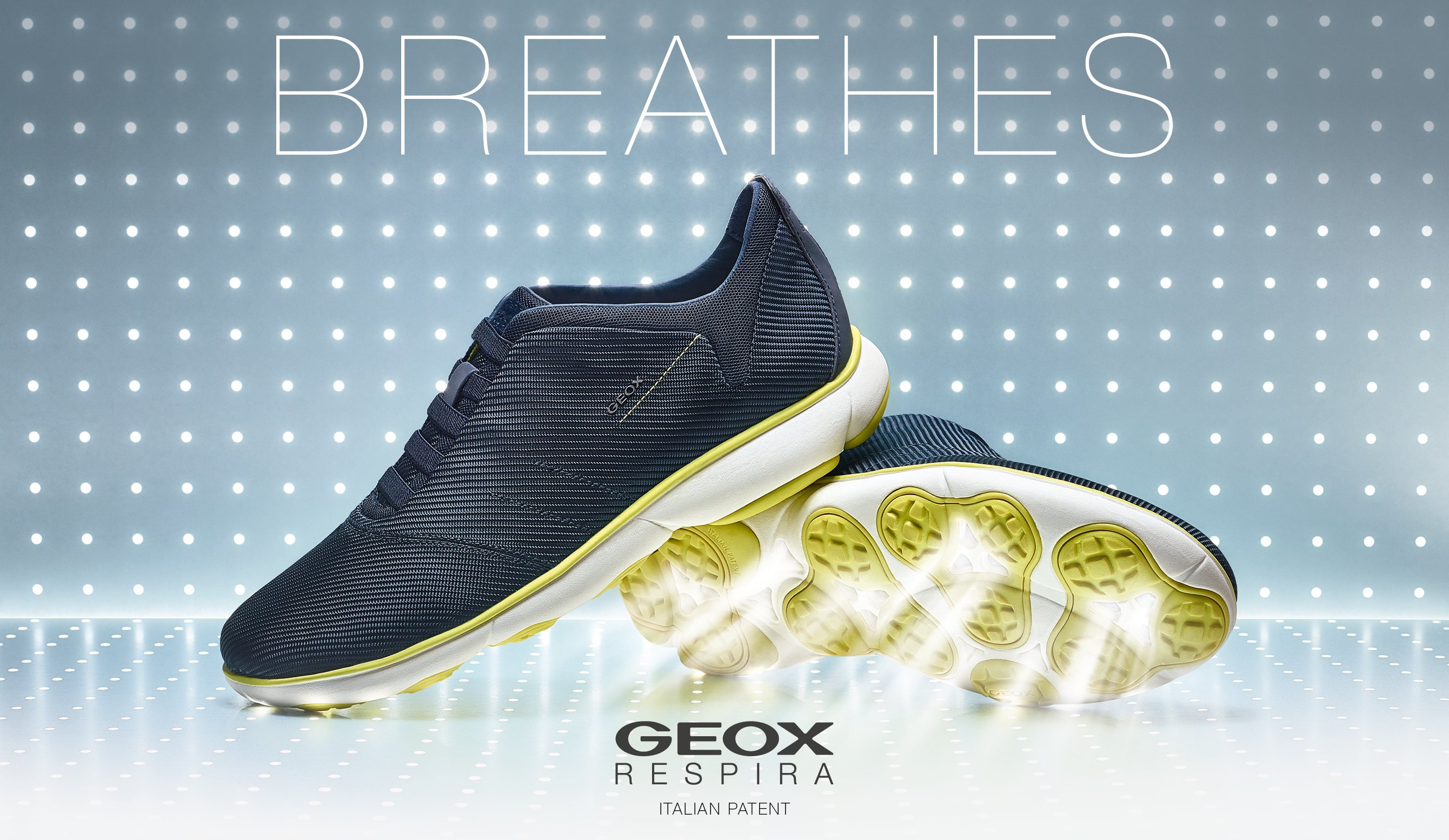 "geox breathing innovation into shoes Geox pioneered the technological solution which adds a waterproof feature to the natural ""breathing"" benefit of leather soles waterproof leather the geox leather patent places a breathable, waterproof membrane into the leather sole, effectively eliminating that uncomfortable, wet feeling we get inside of shoes with leather soles when it ."