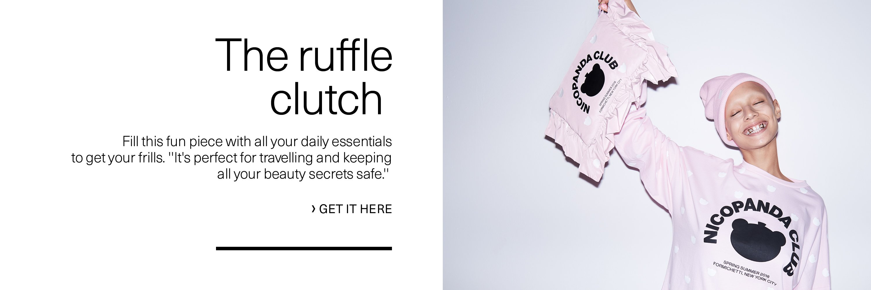 The ruffle clutch