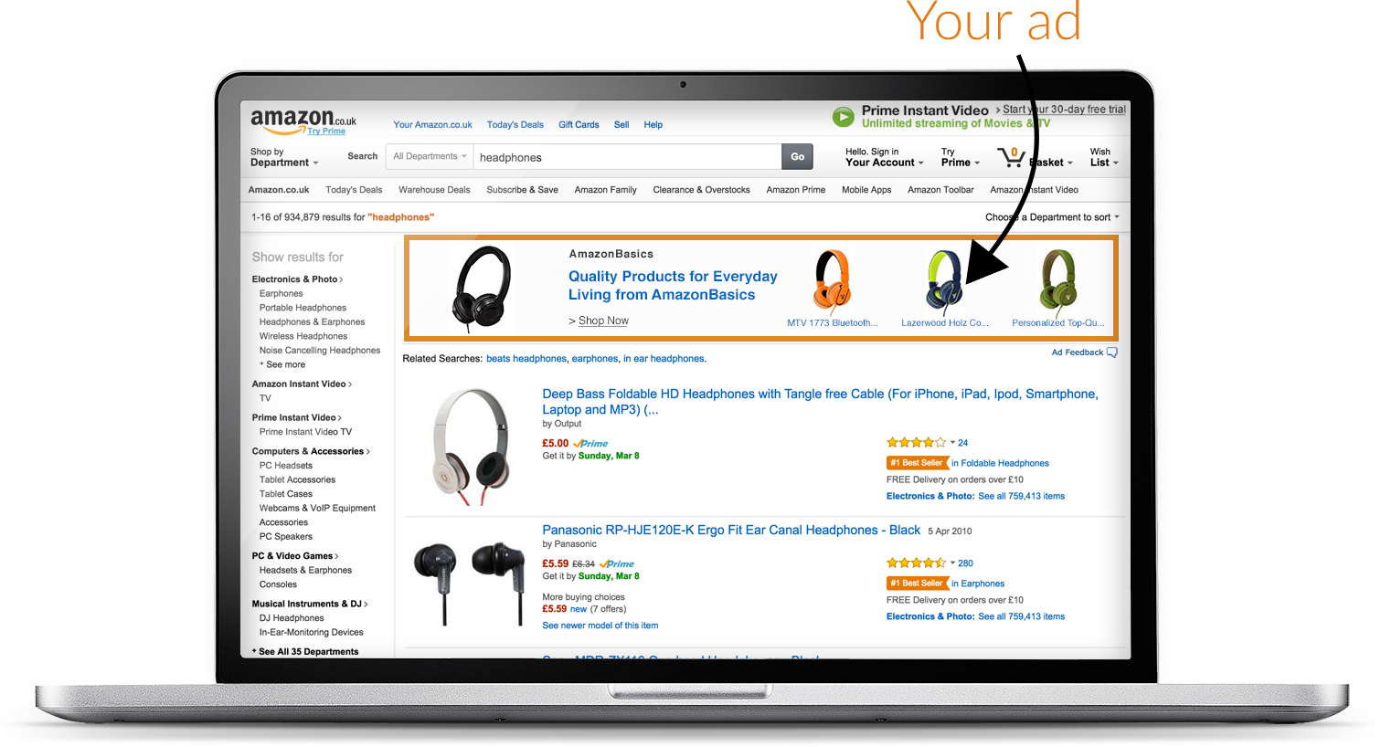 A Headline Search Ad at the top of Amazon search results featuring Bose headphones