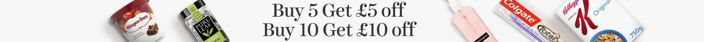 Buy 5 get £5 off, buy 10 get £10 off
