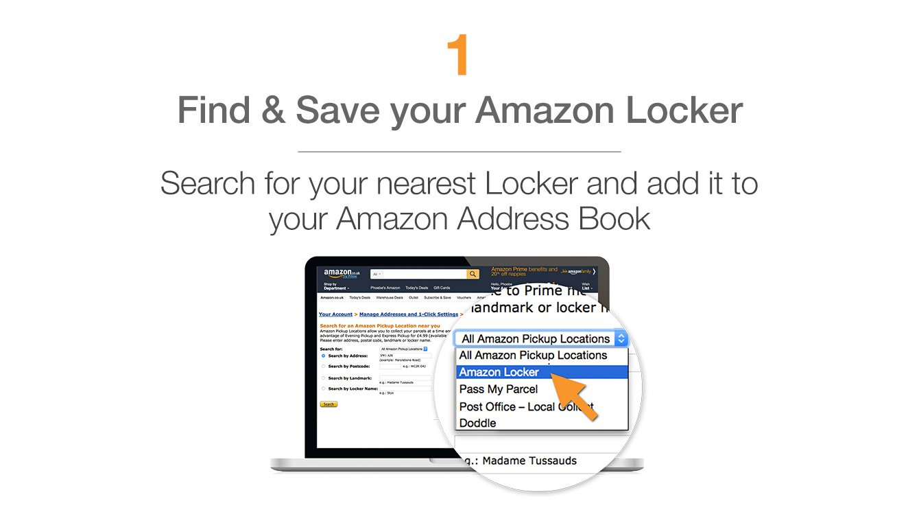 Find and save your Amazon Locker - Search for your nearest Amazon Locker and add it to your Amazon address book