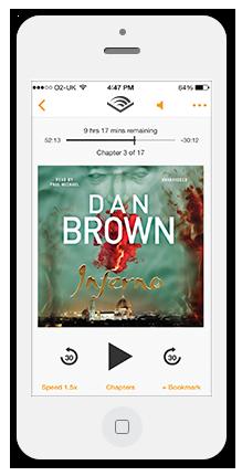 iPhone Audible App with Dan Brown Inferno audiobook
