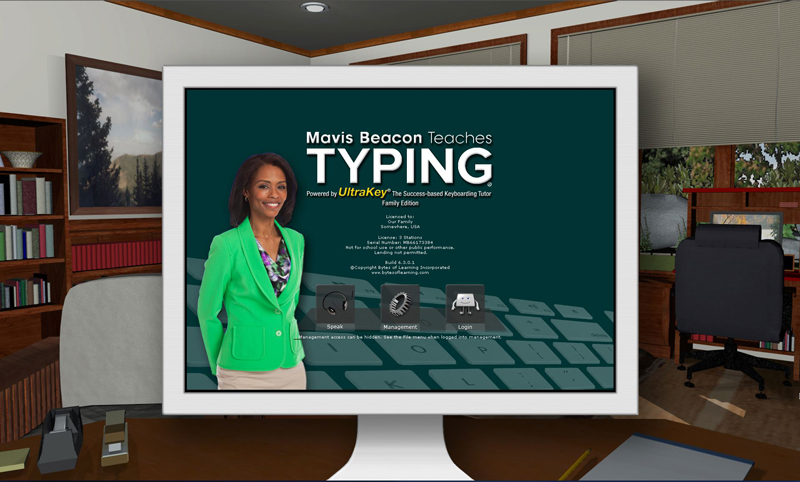 Learn to type the home row keys