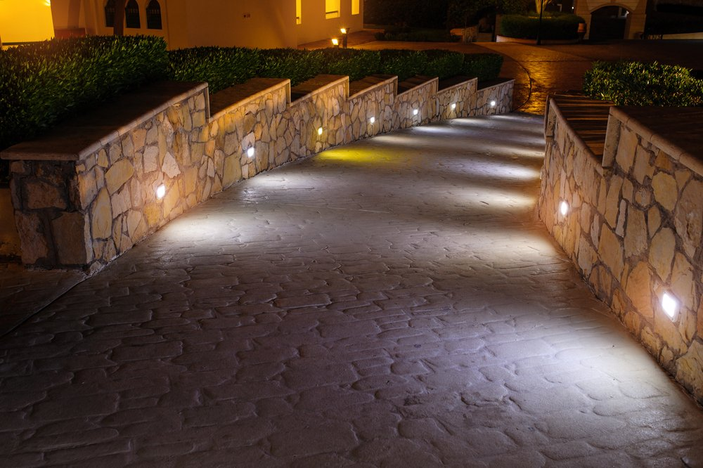 Photo night lighting path for walks in the hotel