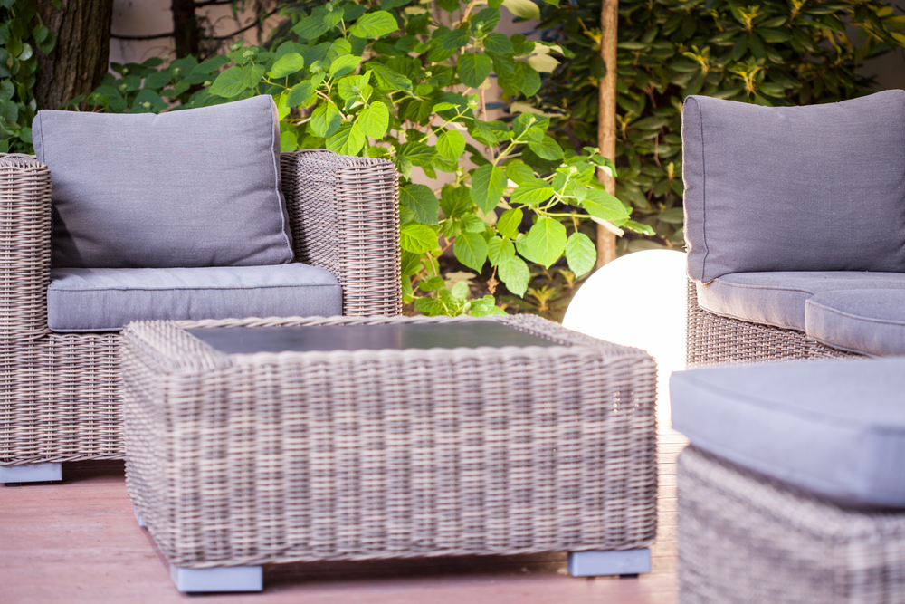 Photo wicker armchair and table modern garden furniture