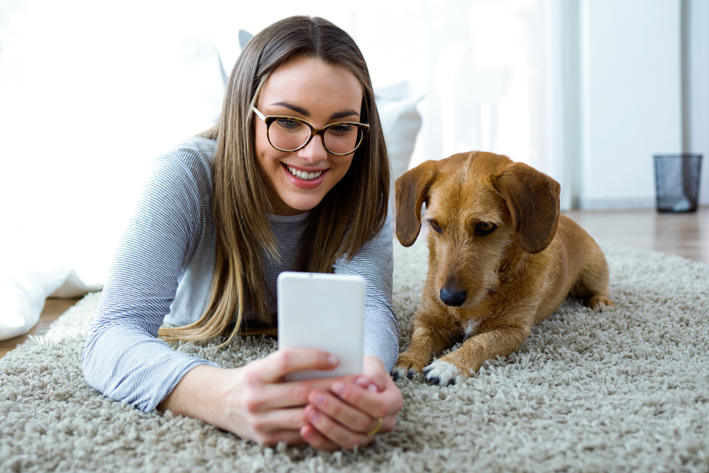 Photo portrait of beautiful young woman with her dog using mobile phone at home