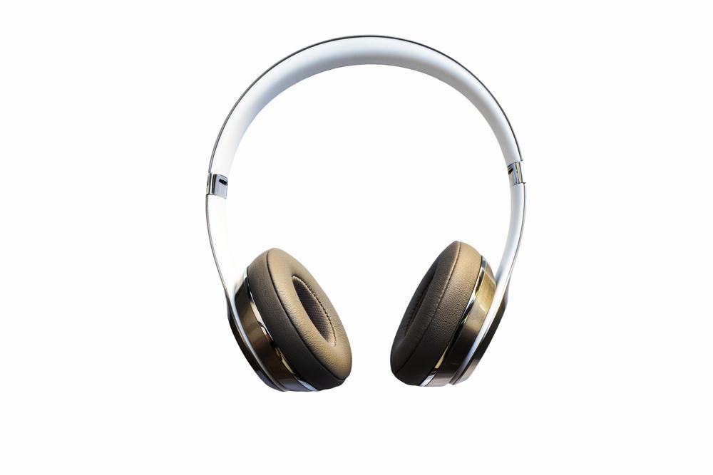 Photo headphones isolated on white background