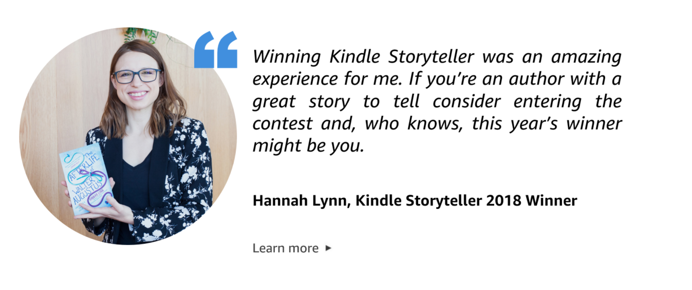 Quote from Hannah Lynn, Kindle Storyteller 2018 Winner