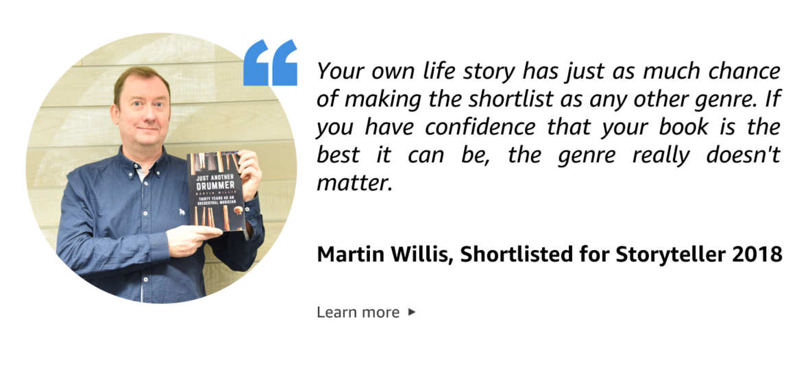 Quote from Martin Willis, Kindle Storyteller 2018 Shortlisted author.