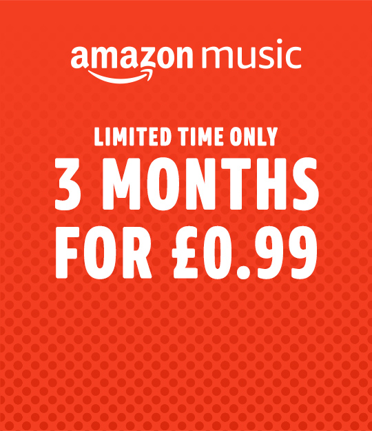 Amazon Music Unlimited. 3 months for £0.99. Limited time offer. Unlock access to 50 million songs. Just £9.99 a month. £7.99 for Prime Members.