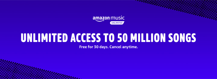 Amazon Music Unlimited. Unlimited access to 50 million songs. £7.99/month for Prime members (Non-Prime price: £9.99/month)