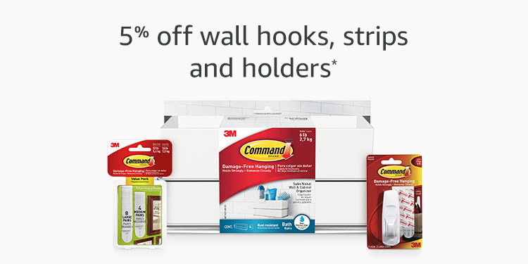 5% off Command wall hooks, strips and holders