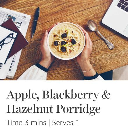 Apple, blackberry & hazelnut Quaker porridge