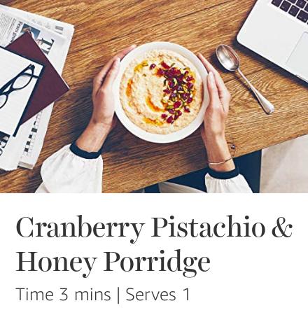 Cranberry, Pistachio & Honey Quaker Porridge