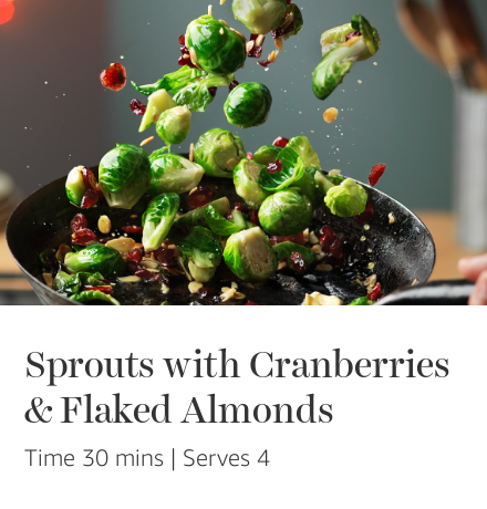 Sprouts with Cranberries & Flaked Almonds