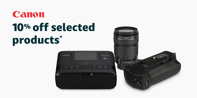 10% off selected Canon cameras and accessories