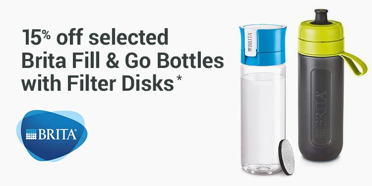 15% off selected Brita Fill & Go bottles with filter disks