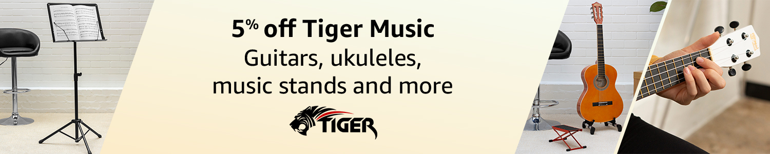 5% off Tiger Music guitars, ukuleles, music stands and more