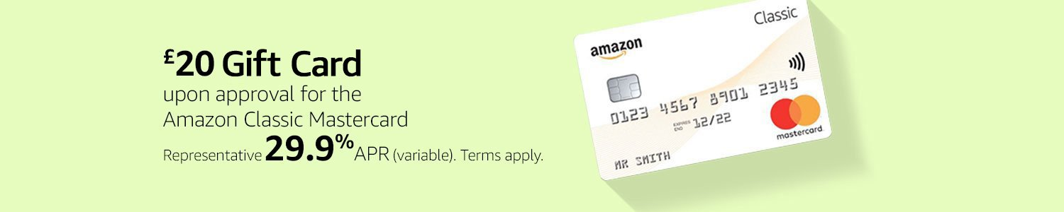 £20 Gift Card upon approval for the Amazon Classic Mastercard. Representative 29.9% APR (variable). Terms apply.