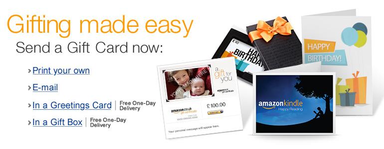 Amazon co uk: Gift Card promotion