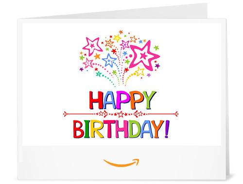 Happy Birthday (Stars) - Printable Amazon.co.uk Gift