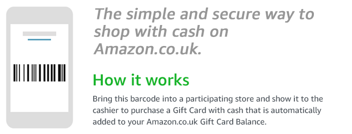 The fast, no fee way to use cash to shop on Amazon. | How it works | Bring this barcode into a participating store and show it to the cashier to purchase a Gift Card with cash that is automatically added to your Amazon.co.uk Gift Card Balance.