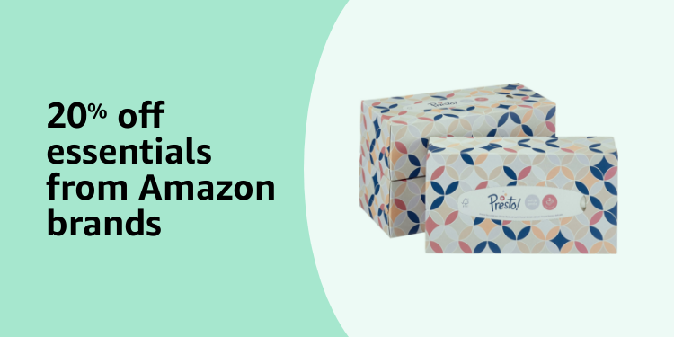 20% off essentials from Amazon Brands