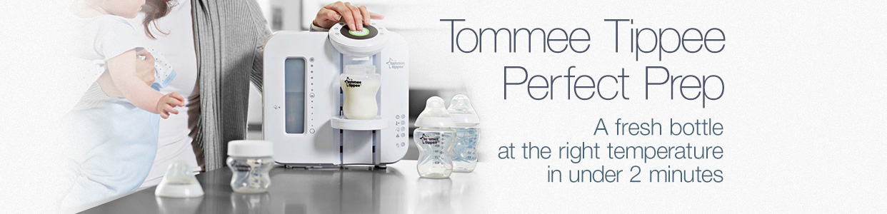Tommee Tippee Perfect Prep. A fresh bottle at the right temperature in under 2 minutes