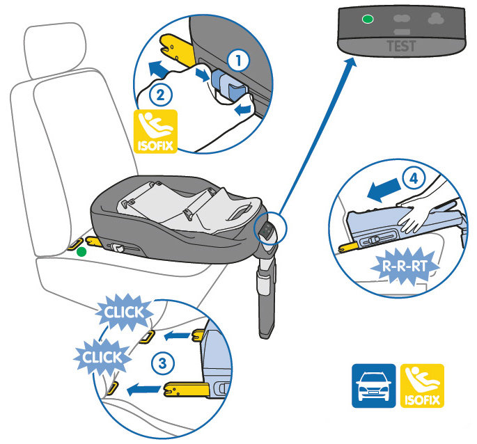 Install The Maxi Cosi FamilyFix Car Seat Base Using Cars IsoFix Anchor Points