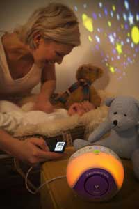 Calm and relax your baby with the projected lightshow and a selection of lullabies