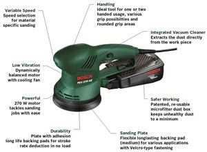 bosch pex 270 ae 220 watt random orbital sander old. Black Bedroom Furniture Sets. Home Design Ideas