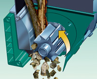 The AXT 25 D quiet drum electric shredding system is ideal for hard wood, old hedges and thorny shrubs
