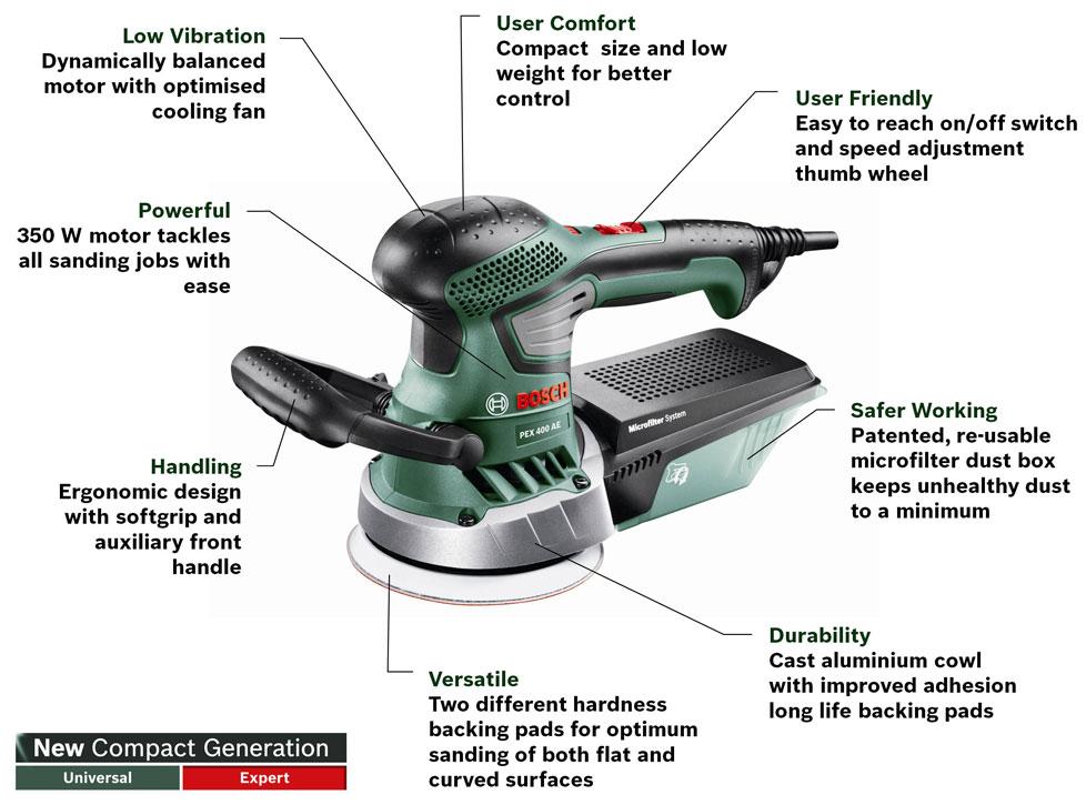 bosch pex 400 ae random orbit sander diy tools. Black Bedroom Furniture Sets. Home Design Ideas