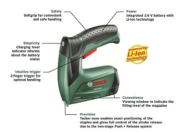 bosch ptk 3 6 li cordless tacker with integrated 3 6 v lithium ion battery diy. Black Bedroom Furniture Sets. Home Design Ideas
