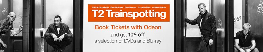 T2 Trainspotting: Book Tickets with Odeon and get 10% off a selection of DVDs and Blu-ray