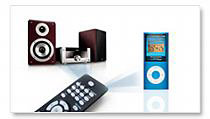 Single remote control for system and iPod.